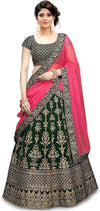 Women's Embroidered green Velvet Lehenga Choli with Dupatta