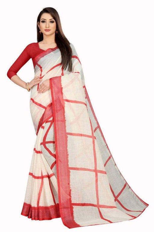 Beautiful Linen Saree With Blouse Piece