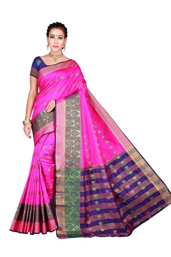 Cotton Silk Banarasi Saree With Blouse Piece