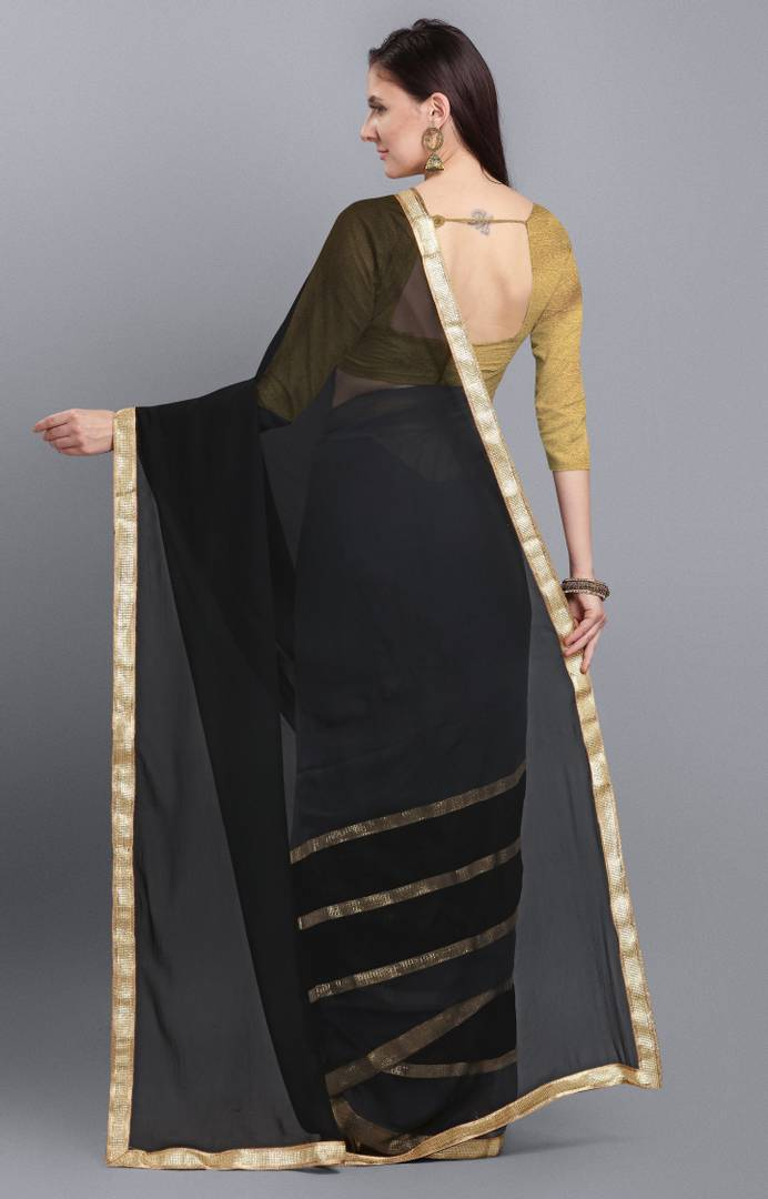 Grey  Georgette Saree With Blouse Piece