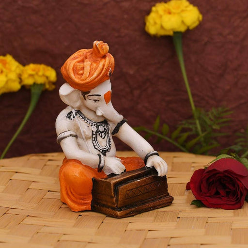 Handcrafted Resine Ganpati/Ganesh Playing Musical Instrument Flute Ganesha Idol Sculpture Ganpati Decorative Showpiece for Office Home Decor Birthday Diwali Gift Car Dashboard Mandir Pooja