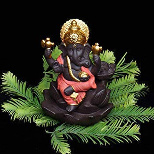 Lotus Ganesh / Ganpati Backflow Incense Holder burner Smoke Waterfall Decorative Showpiece For Pooja temple Gift with 5 Smoke Scented Cone Incenses Ganpati / Ganesha  Smoke Fountain