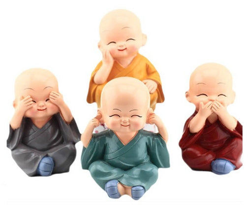 4 Pc Polyresin Car and Home  Monk Decoration