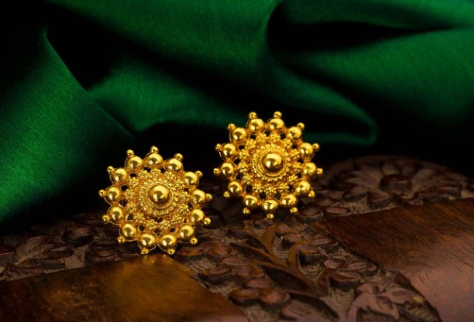 Gold plated earrings studs for women and girls