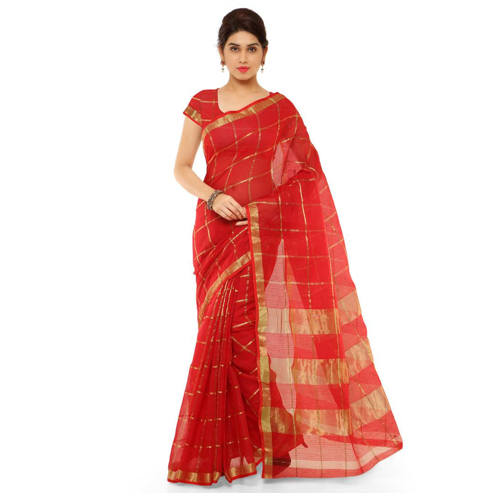 Stylish Cotton Silk Red Printed Saree With Cotton Silk Blouse Piece