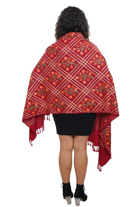 Fashionable Red Wool Embroidered Stole For Women