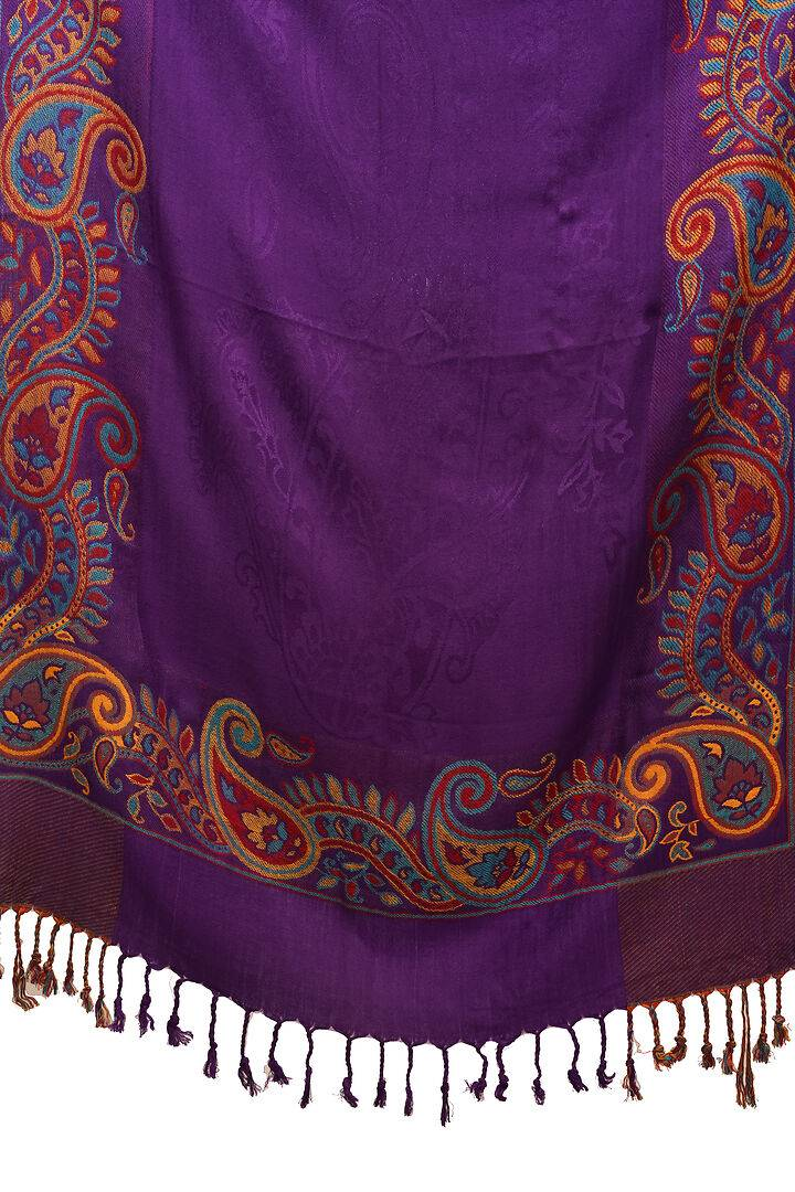 Fashionable Purple Viscose Woven Design Stole For Women