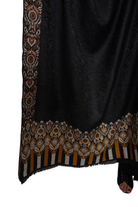 Fashionable Black Viscose Silk Solid Shawl For Women