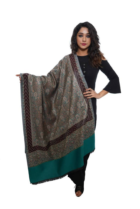 Fashionable Green Acrylic Solid Shawl For Women
