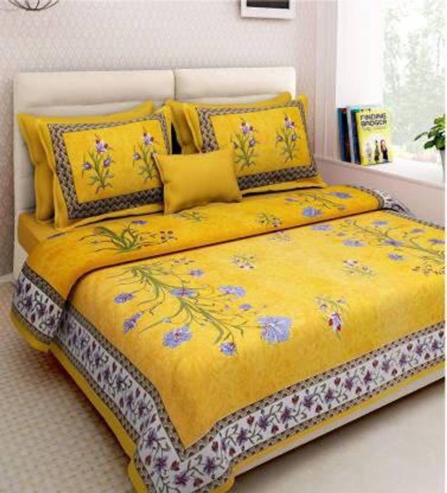 Gorgeous Printed Cotton Double Bedsheet with 2 Pillowcover