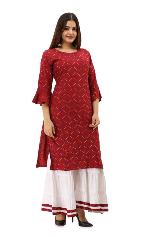 Maroon Bandhani Printed Kurti with Sharara
