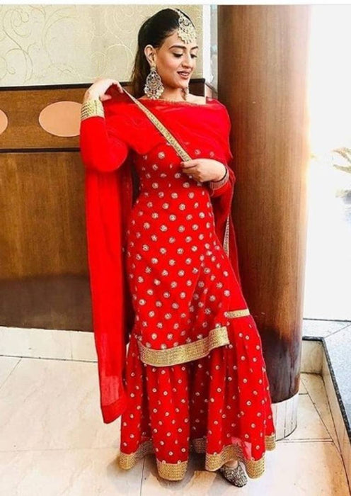 Stylish Red Rayon Printed Kurta And Sharara With Dupatta Set For Women
