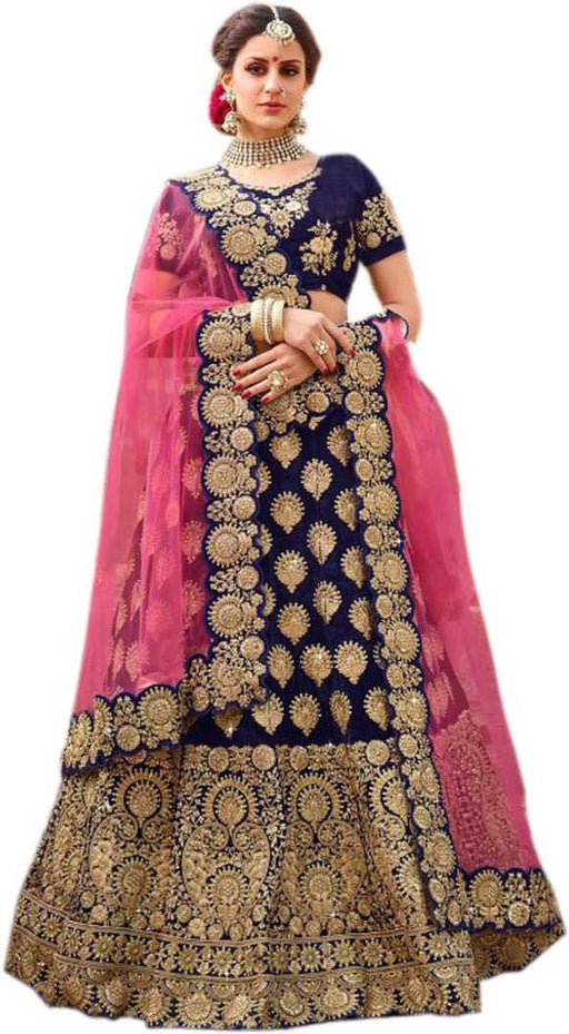 Women's Embroidred Silk Semi stitched Lehenga choli with Dupatta