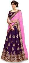 Elegant Embroidred Silk Semi Stitched Lehenga Choli With Dupatta For Women