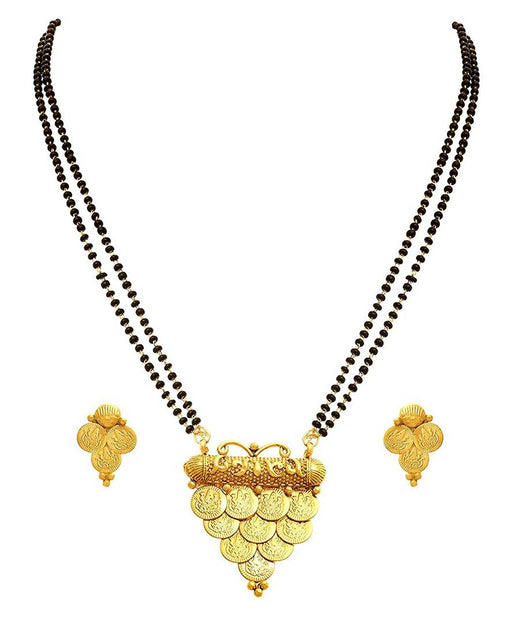 Ethnic One Gram Gold Plated Temple Goddess Laxmi Coin Designer Mangalsutra with Black Beaded Chain for Women
