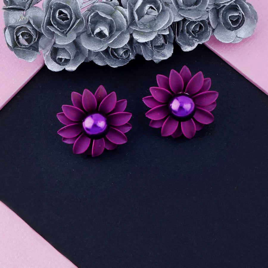 Sensational Purple Lovely Floral Design With Pearl Stud Earring For Girls And Women