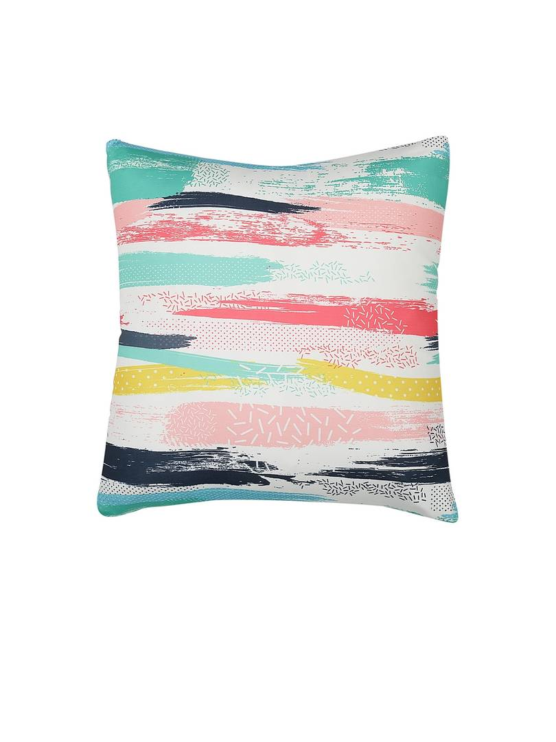 Beautiful Multicoloured Printed Square Shaped Stretchable Cushion Cover Set of 5 (16 X16)