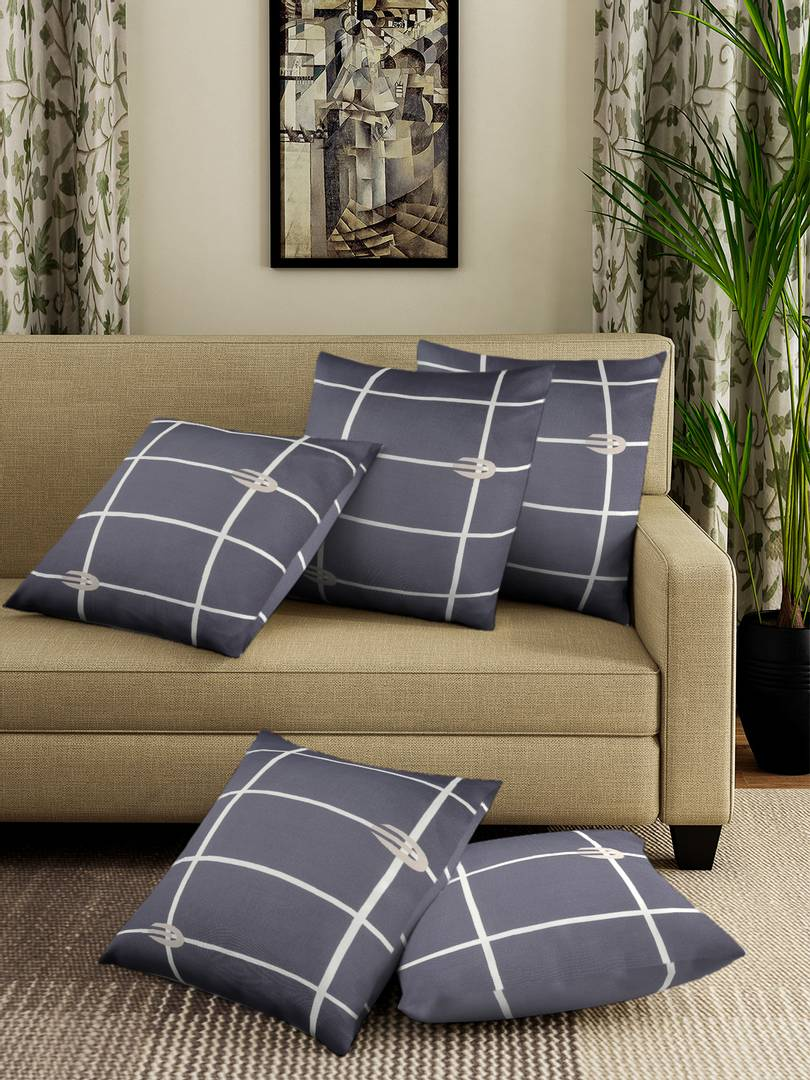 Beautiful Grey Checked Square Shaped Stretchable Cushion Cover Set of 5 (16 X16)