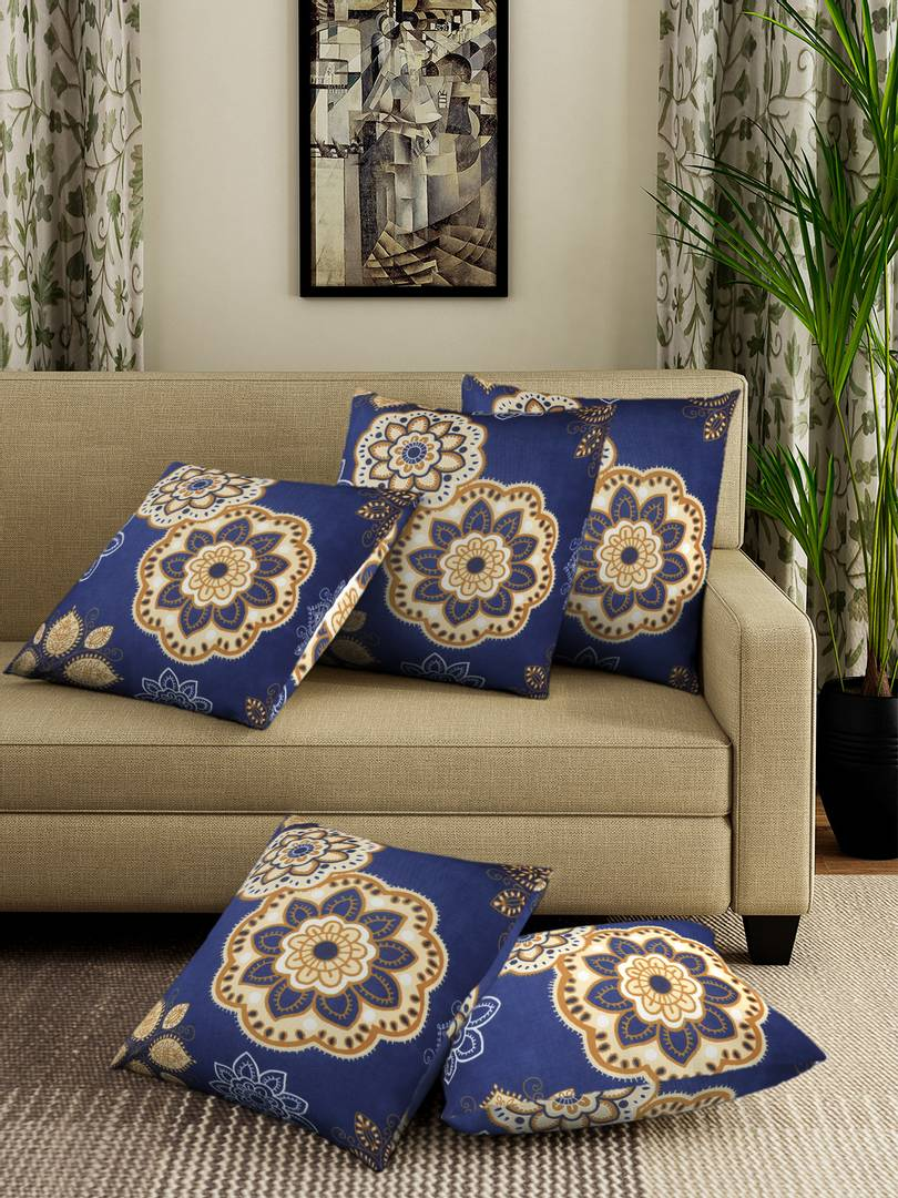 Beautiful Blue Printed Square Shaped Stretchable Cushion Cover Set of 5 (16 X16)