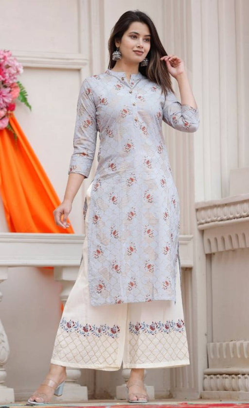 Stylish Cotton Gold Printed Kurta With Button And Embroidered Palazzo Set