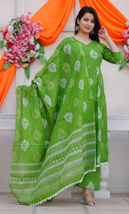 Stylish Green Cotton Printed Anarkali Women Kurta Pant Set with Dupatta