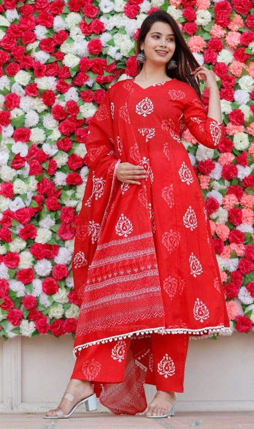Stylish Red Cotton Printed Anarkali Women Kurta Pant Set with Dupatta