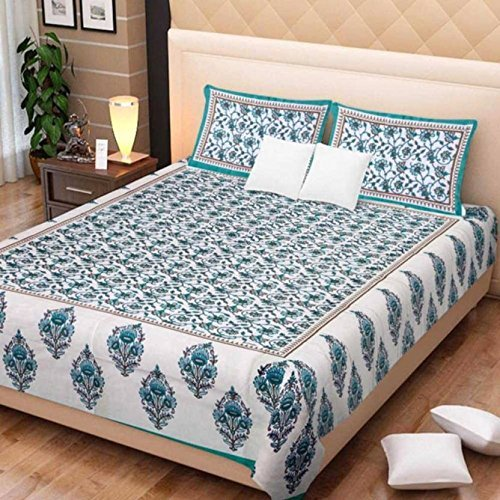 Jaipurethnic cotton king size double Bedsheet (90x108 Inches)-Sea Green Booty