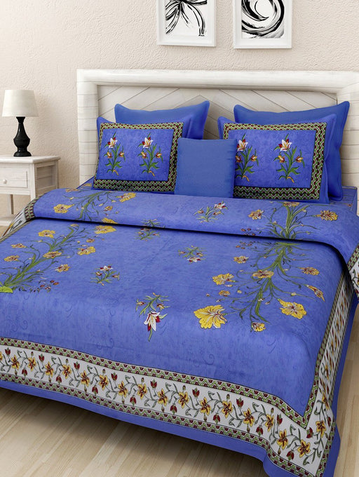 Jaipurethnic cotton king size double Bedsheet (90x108 Inches)-Kashmir Kali Blue