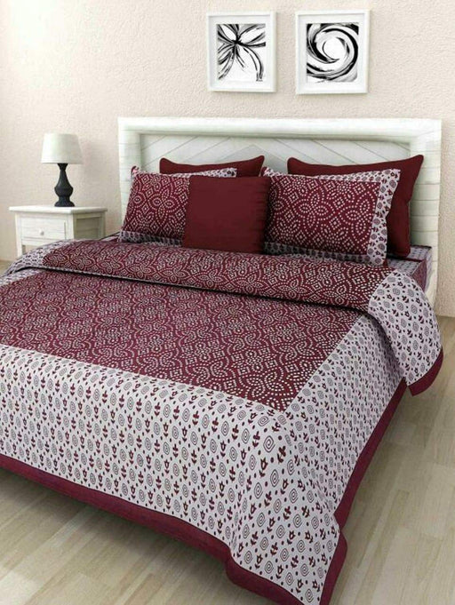 Jaipurethnic cotton king size double Bedsheet (90x108 Inches)-Brown Bandhej