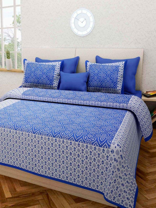 Jaipurethnic traditional printed Double bedsheet 90x100 Inches-Blue Bandhej