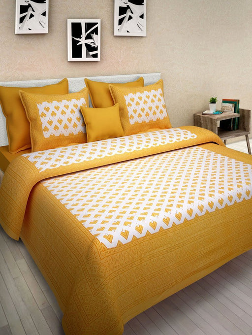 Jaipurethnic traditional printed Double bedsheet 90x100 Inches-Yellow Square