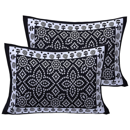 Jaipurethnic traditional printed Double bedsheet 90x100 Inches-Black Bandhej