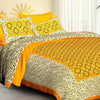 Traditional Pure Cotton bedsheets for Double Bed King Size 1 pc bedsheet with 2 Pillow Cover Bed Sheet- Size 90x108 Inches-Yellow Circle