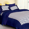 Jaipurethnic traditional printed Double bedsheet 90x100 Inches-Blue Square