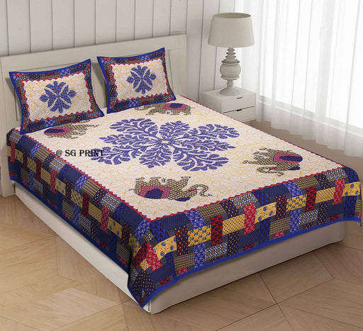 Jaipurethnic cotton king size double Bedsheet (90x108 Inches)-Tree Flower