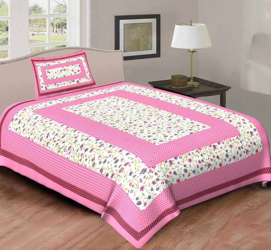 Jaipurethnic Single Cotton  Bedsheet and 1 Pillow Cover-