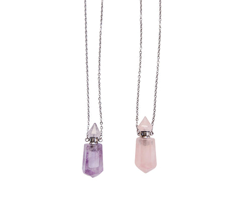 Rose Quartz & Amethyst Perfume Vials at Goddess Provisions.