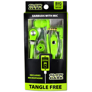 ITEM NUMBER 020614 GG GLOW IN THE DARK EARBUDS W/MIC 3 PIECES PER PACK