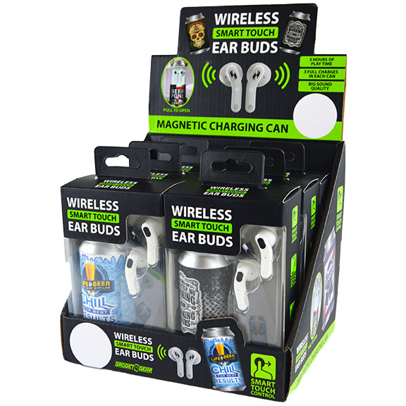 ITEM NUMBER 021939 TRULY WIRELESS EARBUDS AND CHARGING CAN 6 PIECES PER DISPLAY