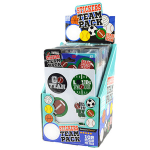 ITEM NUMBER 022040 SPORTS STICKERS TEAM PACK  24 PIECES PER DISPLAY