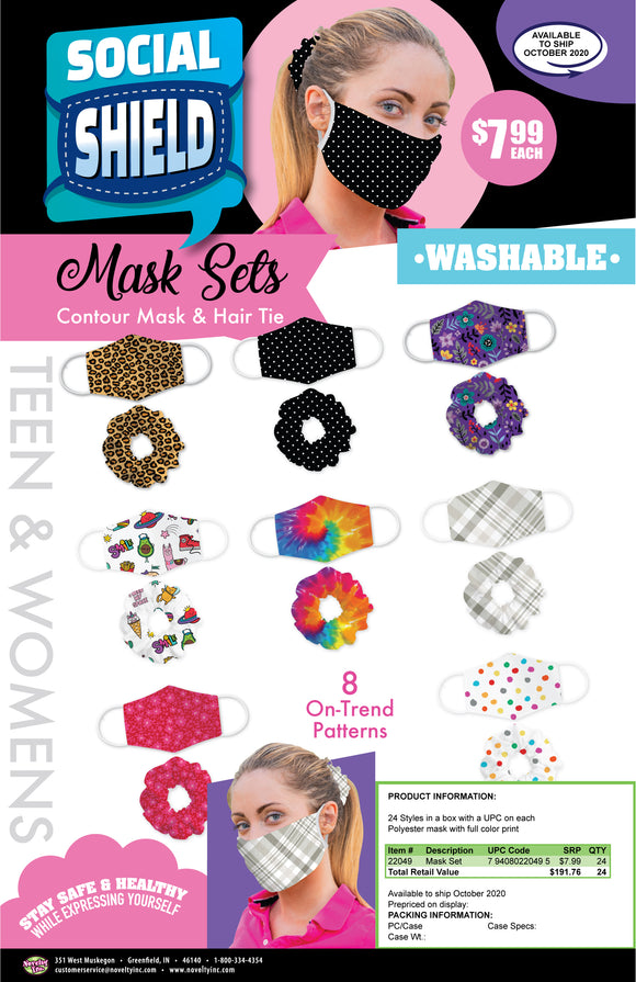 ITEM NUMBER 022049 ADULT FACE MASK & HAIRTIE SET 24 PIECES PER DISPLAY