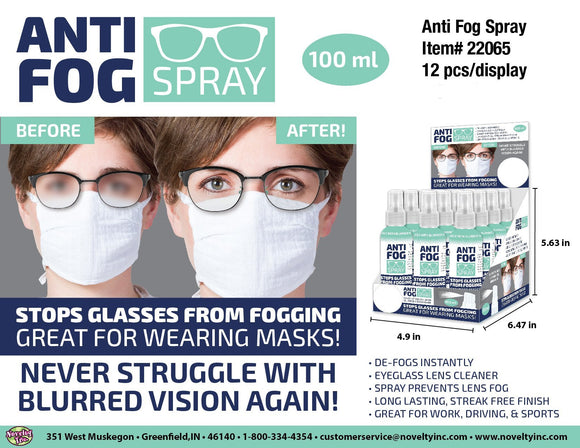ITEM NUMBER 022065 ANTI FOG SPRAY 24 PIECES PER DISPLAY