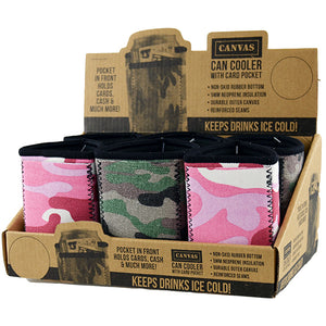 ITEM NUMBER 022124 CANVAS CAN COOLER POCKET 6 PIECES PER DISPLAY