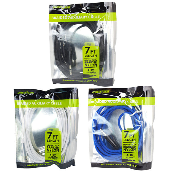 ITEM NUMBER 023619 GG BAG 7FT CLOTH AUXCABLE 3 PIECES PER PACK