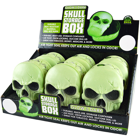 ITEM NUMBER 026010 GLOW IN THE DARK SKULL TREASURE BOX 6 PIECES PER DISPLAY