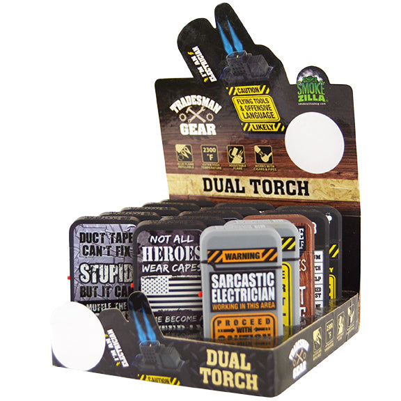 ITEM NUMBER 026142 TRADESMAN DUAL TORCHLIGHTER 15 PIECES PER DISPLAY