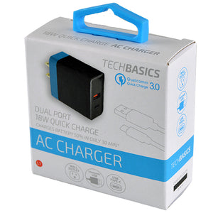 ITEM NUMBER 026236 2.4A 18W DUAL PORT AC CHARGER TECH BASICS 5 PIECES PER PACK