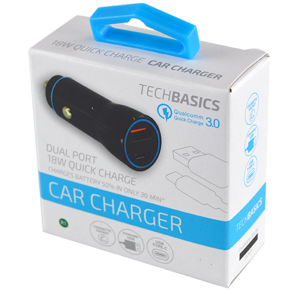 ITEM NUMBER 026248 2.4A 18W DUAL PORT CAR CHARGER TECH BASICS 5 PIECES PER PACK
