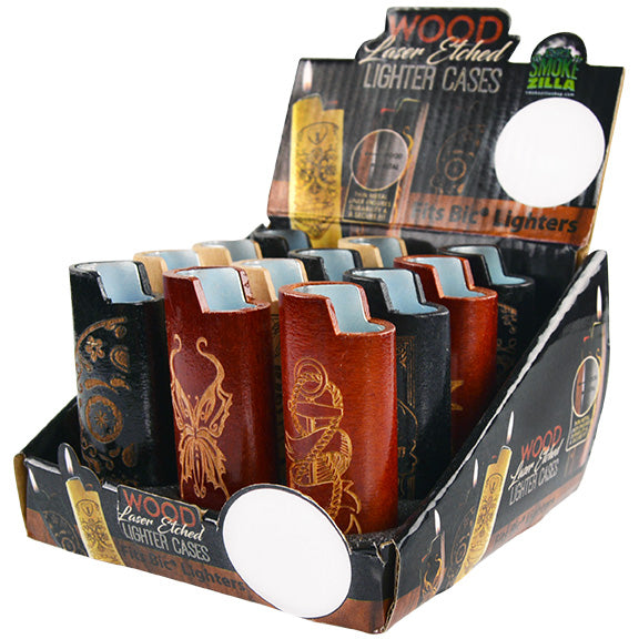 ITEM NUMBER 026433 WOOD LIGHTER CASE 12 PIECES PER DISPLAY