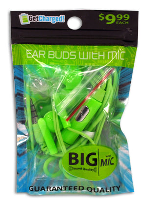 ITEM NUMBER 029408 GG BAG NEON EAR BUDS MIC 3 PIECES PER PACK